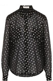 Шелковая блуза свободного кроя с металлизированной нитью Saint Laurent