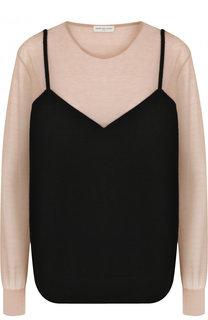 Пуловер из смеси кашемира и хлопка с круглым вырезом Dries Van Noten