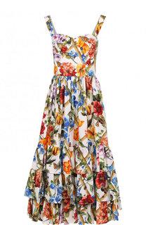 Хлопковое платье-миди с цветочным принтом Dolce & Gabbana