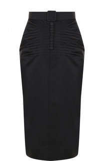 Однотонная юбка-миди с драпировкой No. 21