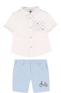 Хлопковый комплект из рубашки и шорт Armani Junior