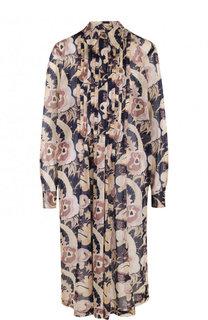 Хлопковое платье свободного кроя с принтом Dries Van Noten