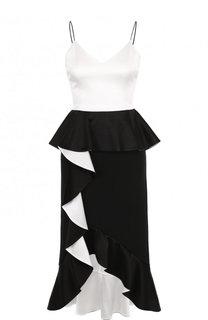 Приталенное платье асимметричного кроя с оборками Alice + Olivia