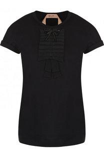 Хлопковая футболка прямого кроя с круглым вырезом No. 21