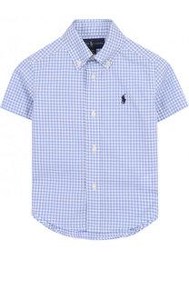 Хлопковая рубашка в клетку и воротником button down Polo Ralph Lauren