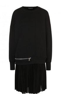 Хлопковое мини-платье с плиссированной юбкой Alexander McQueen