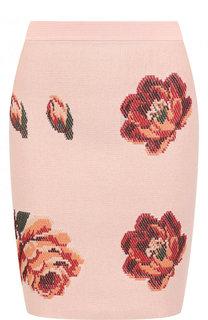 Вязаная мини-юбка с цветочным рисунком Alexander McQueen