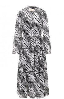 Приталенное платье-миди с принтом MICHAEL Michael Kors