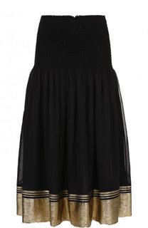 Шелковая юбка-миди с контрастной отделкой Chloé