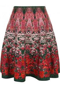 Расклешенная мини-юбка с цветочным рисунком Alexander McQueen