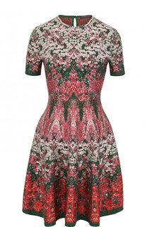 Приталенное мини-платье с цветочным рисунком Alexander McQueen
