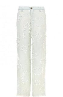 Расклешенные джинсы с потертостями и бахромой Chloé