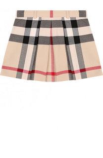 Хлопковая мини-юбка с принтом и защипами Burberry