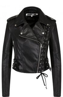 Приталенная кожаная куртка с косой молнией MCQ