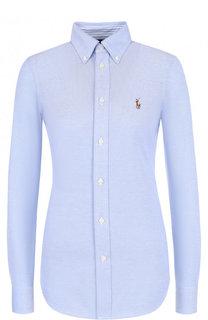 Приталенная хлопковая блуза с логотипом бренда Polo Ralph Lauren