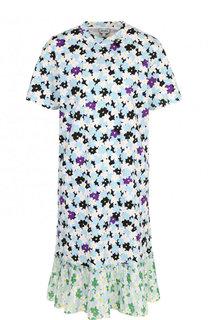 Хлопковое мини-платье с принтом и плиссированной оборкой Kenzo
