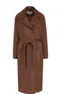 Однотонное замшевое пальто с поясом Loewe