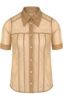 Полупрозрачная блуза с коротким рукавом No. 21
