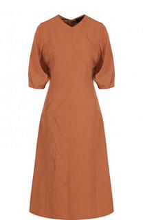 Приталенное однотонное платье-миди из вискозы Joseph