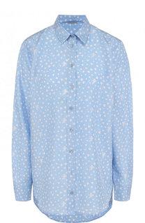 Шелковая блуза свободного кроя с принтом Van Laack