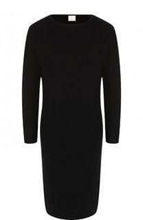 Однотонное приталенное мини-платье с круглым вырезом BOSS