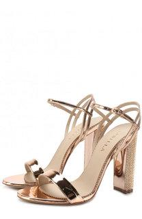 Босоножки из металлизированной кожи на устойчивом каблуке Le Silla