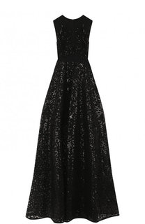 Приталенное перфорированное платье-макси без рукавов Elie Saab