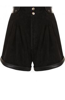 Замшевые шорты с высокой талией и карманами Saint Laurent