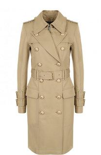 Двубортное хлопковое пальто с поясом Balmain