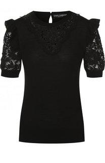 Однотонный пуловер из смеси шерсти и хлопка с вискозой Dolce & Gabbana