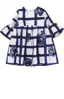Хлопковое платье с принтом и расклешенными рукавами Tartine Et Chocolat