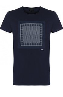Хлопковая футболка с круглым вырезом и принтом BOSS