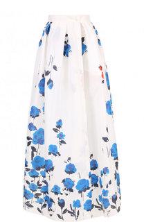 Шелковая юбка-макси с цветочным принтом sara roka