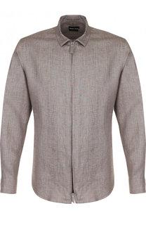 Льняная рубашка на молнии Giorgio Armani