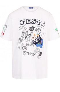 Хлопковая футболка с круглым вырезом и контрастной вышивкой Steve J & Yoni P