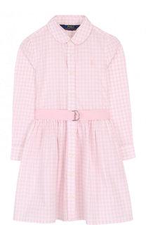 Хлопковое платье-рубашка в клетку с поясом Polo Ralph Lauren