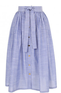 Хлопковая юбка-миди в полоску с поясом Stella Jean