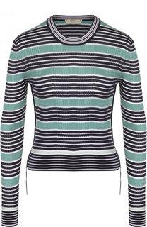 Шелковый пуловер в полоску с круглым вырезом Fendi