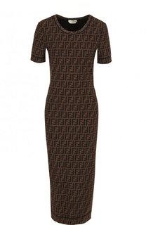 Платье-миди с круглым вырезом и логотипом бренда Fendi