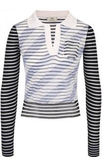 Шелковый пуловер в полоску с отложным воротником Fendi