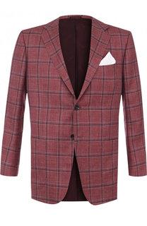 Однобортный пиджак из смеси кашемира и шелка со льном Kiton