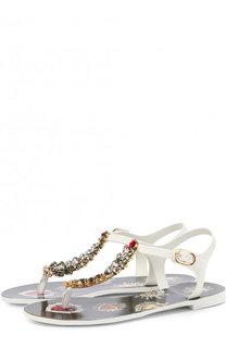 Резиновые сандалии с отделкой кристаллами Dolce & Gabbana