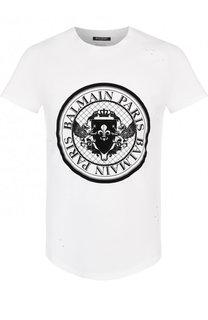 Хлопковая футболка с принтом и потертостями Balmain