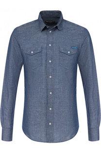 Рубашка на кнопках из смеси льна и хлопка Dolce & Gabbana