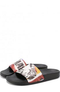 Кожаные шлепанцы Calypso с логотипом бренда Balmain