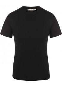 Однотонная хлопковая футболка с круглым вырезом Acne Studios