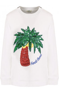 Хлопковый свитшот с круглым вырезом и аппликацией Fendi