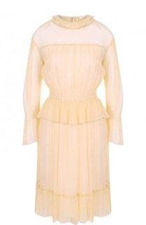 Приталенное шелковое платье с оборками See by Chloé