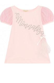 Хлопковый топ с вышивкой и рукавом-фонарик Monnalisa
