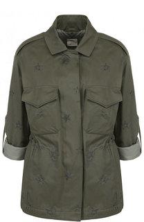 Однотонная хлопковая куртка с укороченным рукавом и погонами BOSS